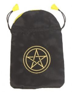Satin Tarot Card Bag: Black with Gold Pentacle design
